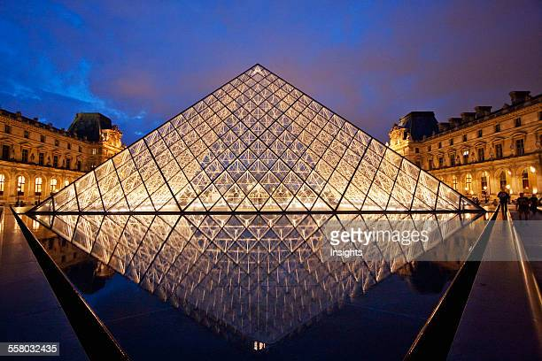 Louvre Pyramid By The Architect IM Pei At Night Paris France