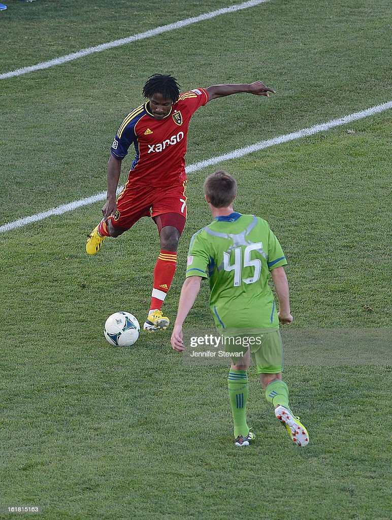 Loval Palmer #7 of Real Salt Lake handles the ball against defender Dylan Remick #45 of the Seattle Sounders during the second half in the FC Tucson Desert Diamond Cup at Kino Sports Complex on February 16, 2013 in Tucson, Arizona. Seattle Sounders defeated Real Salt Lake 2-1.