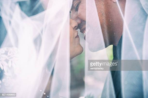 Love and happiness under a wedding veil