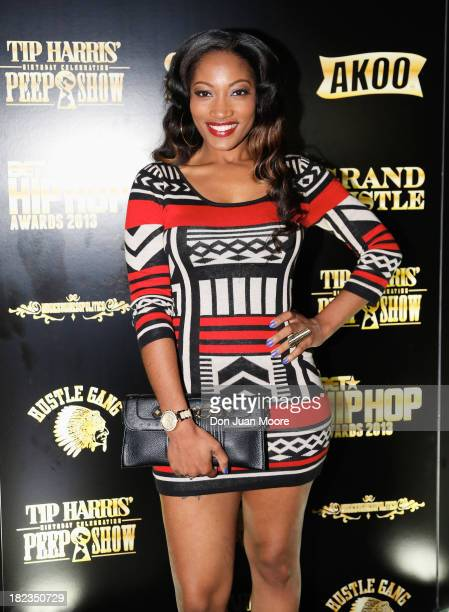 Love and Hip Hop TV Star Erica Dixon pose on the red carpet as GREY GOOSE Vodka hosts Tip Harris' birthday celebration on September 28 2013 in...