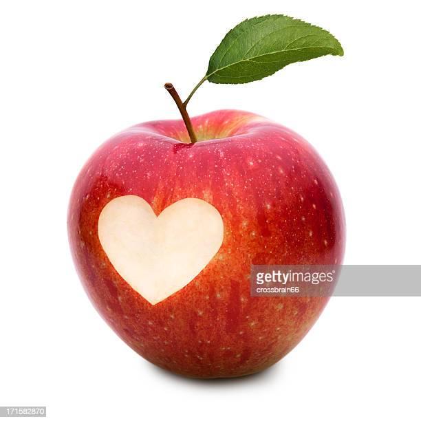 love apple und Herz-symbol und Blatt