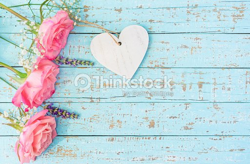 Love Background With Romantic Roses Lavender Babys Breath And Heart