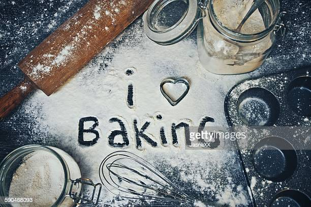 I Love Baking written in flour on a table