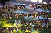 Love chains on Ljubljanica river bridge, Ljubljana, capital od Slovenia