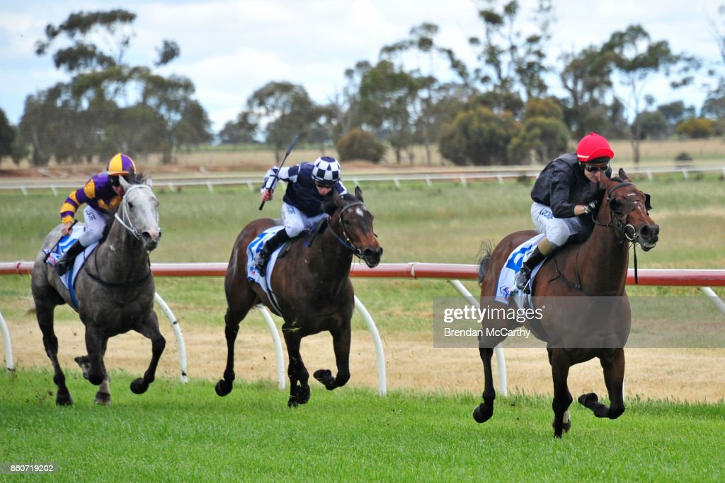 I Love Champagne ridden by Andrew Mallyon wins the TAC Be Race Ready Maiden Plate at Donald Racecourse on October 13, 2017 in Donald, Australia.
