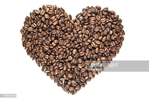 Ich liebe Kaffee, Herz aus gerösteten Bohnen