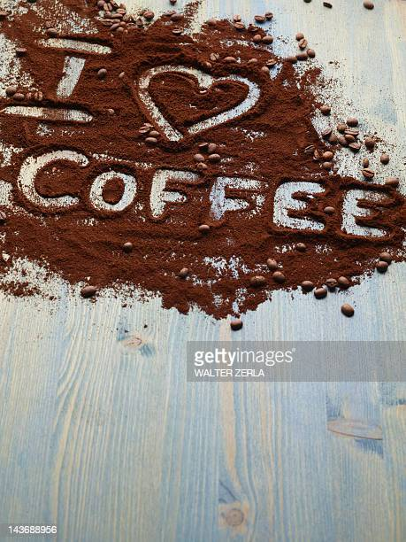 I love coffee written in grounds