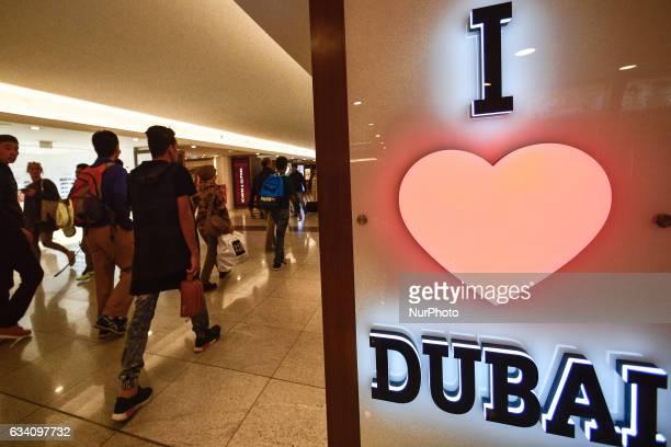 'I Love Dubai' description near the shop with souvenirs inside a Dubai mall in Dubai downtown On Monday 6 February in Dubai UAE