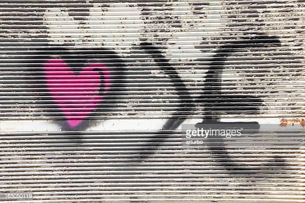 love euro graffiti shutter background with  sheet metal Nicosia Cyprus