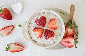 Love heart porridge oatmeal breakfast, fun valentines breakfast