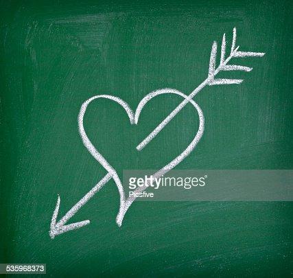 love hearts school chalkboard : Stock Photo