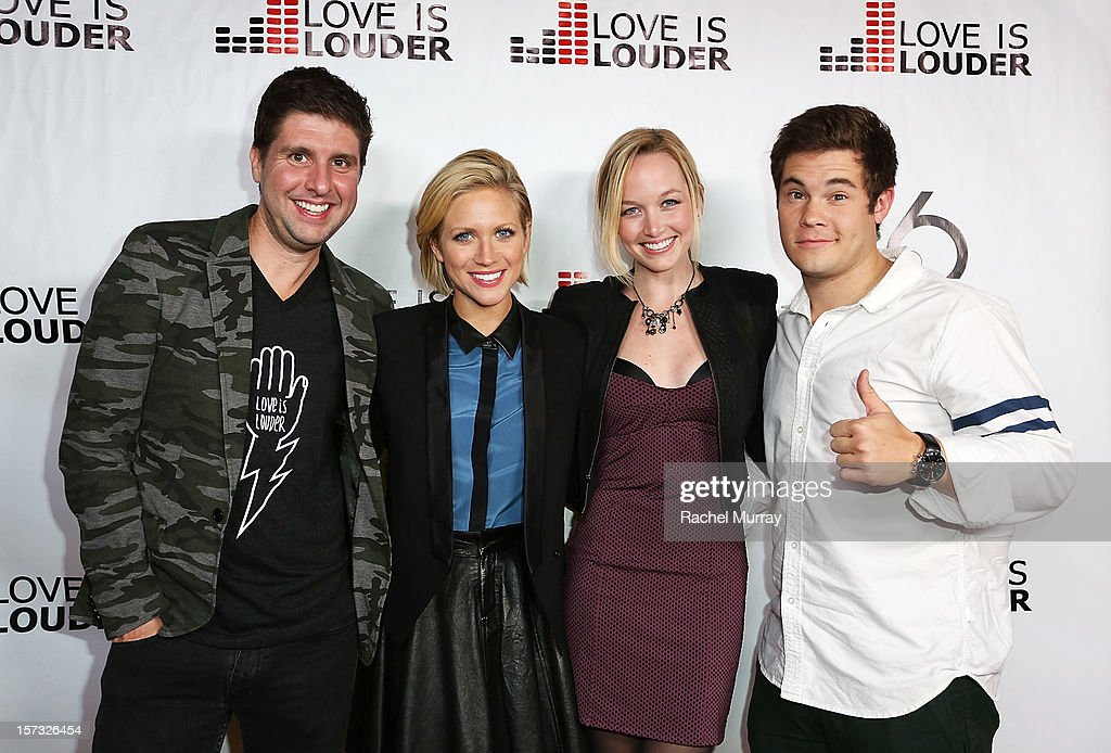 Love is Louder Director Courtney Knowles, actors Brittany Snow, Kelley Jakle, and Adam DeVine attend Chaz Dean's holiday party benefitting the Love is Louder Movement on December 1, 2012 in Los Angeles, California.
