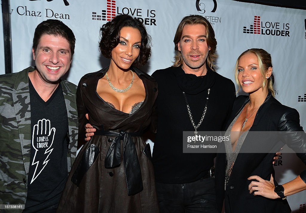 Love is Louder Director Courtney Knowles, Nicole Murphy, Celebrity Hair Stylist Chaz Dean, Jessica Canseco arrive at Chaz Dean's Holiday Party Benefitting the Love is Louder Movement on December 1, 2012 in Los Angeles, California.
