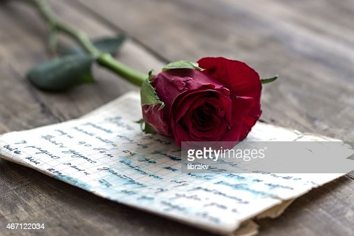 Love letter and rose : Stock Photo