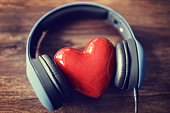 Headphones and heart concept for love listening to music