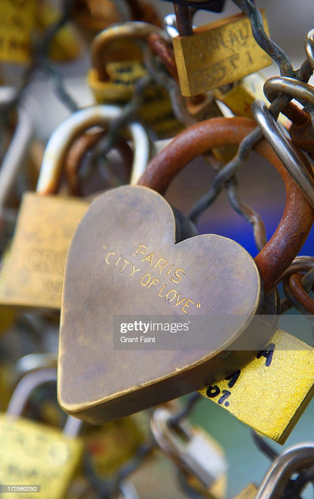 Love lock on bridge fencing