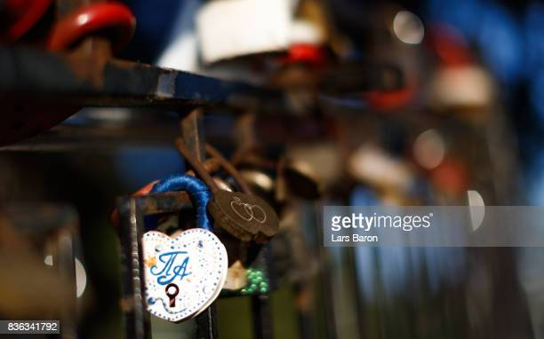 Love locks are seen on August 21 2017 in Volgograd Russia