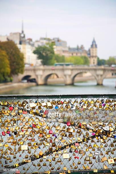 Love locks on bridge way