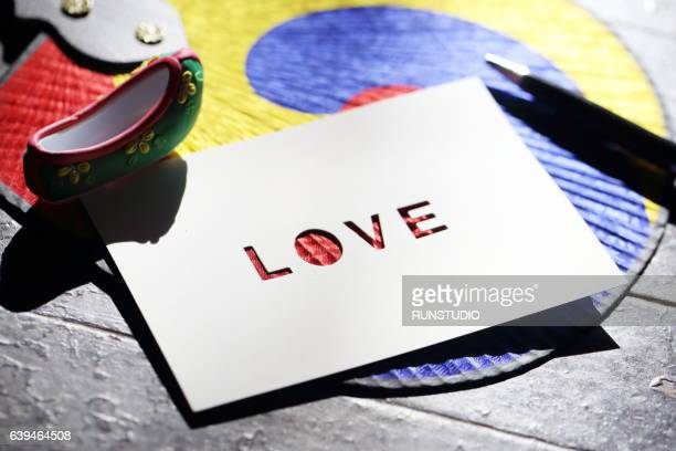 love message card, korean traditional background