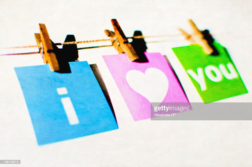 Love message hung on clothesline : Stock Photo
