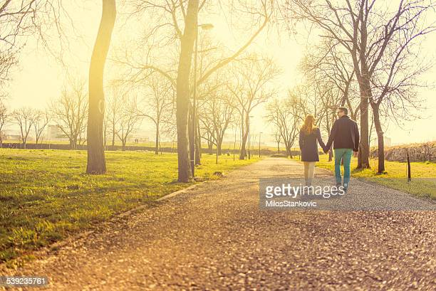 Love mid adult couple holding hands and walking at park