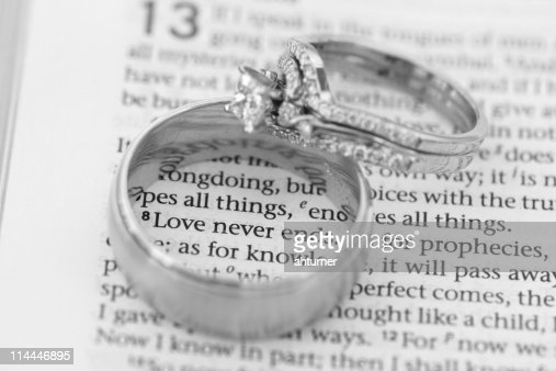 Love Never Ends Rings Bible Verse Stock Photo Thinkstock
