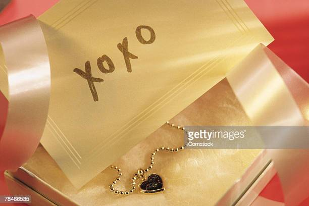 Love note and necklace in a gift box