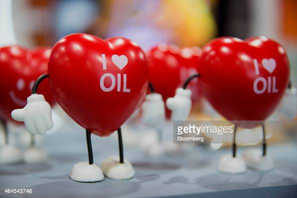 'I Love Oil' branded hearts are displayed at the Energy Tomorrow booth on the exhibit floor during the Conservative Political Action Conference in...