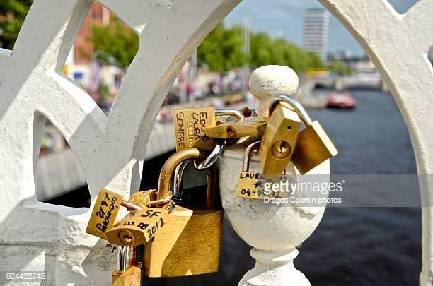 Love padlocks, Half Penny Bridge, Dublin, Ireland