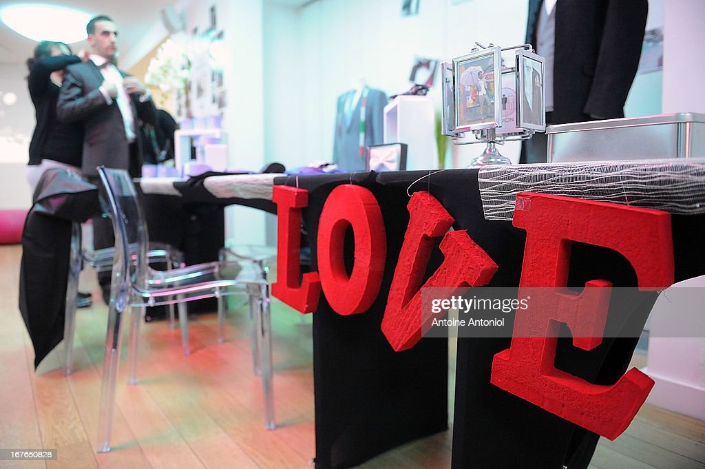 A love sign is displayed at the gay marriage show on April 27, 2013 in Paris, France. The show takes place four days after France legalised same-sex marriage at the National Assembly.