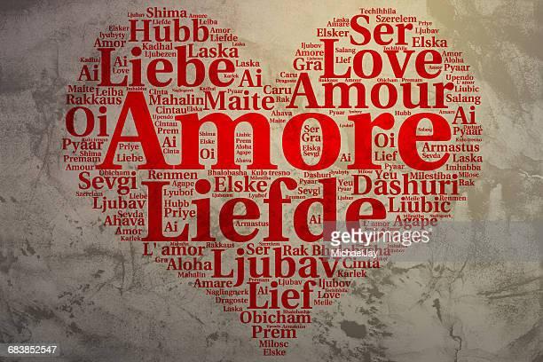 Love Word Cloud In Heart Shape On Wall