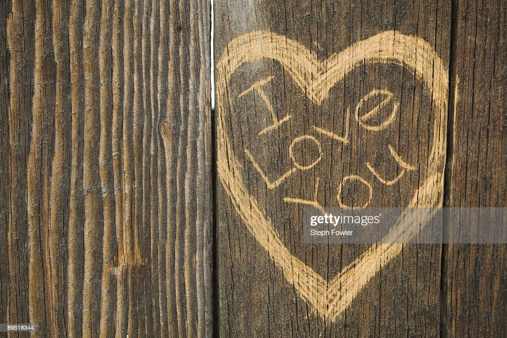 I love you engraved in wood : Stock Photo