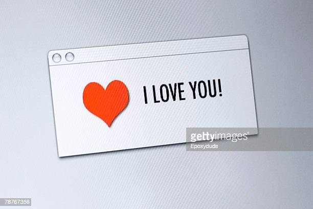 I love you on a computer screen