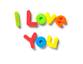 I love you written in magnetic letters, isolated on white