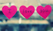"Photo of 3 heart shaped sticker ""I love you"""