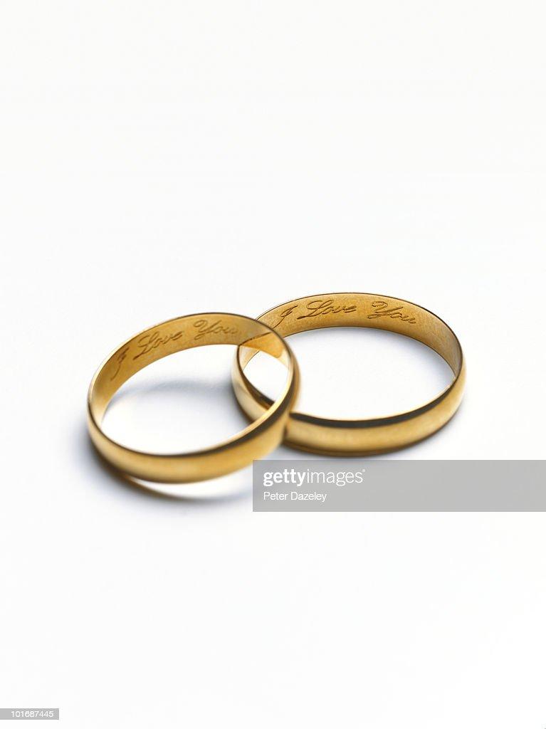I Love You Wedding Rings Stock Photo
