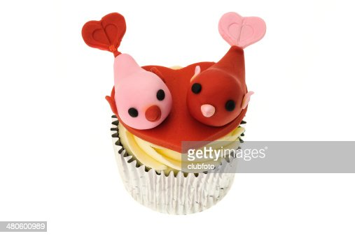 Lovebirds Valentines cupcake : Stock Photo