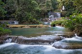 Lovely cascading waterfalls in the tropical island of Jamaica