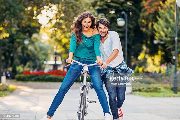 Lovely couple with a bike