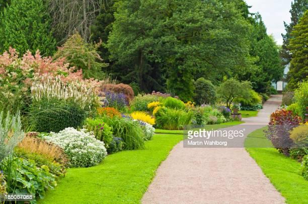 Encantador jardín con camino.
