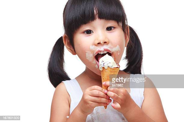 lovely girl eating ice cream