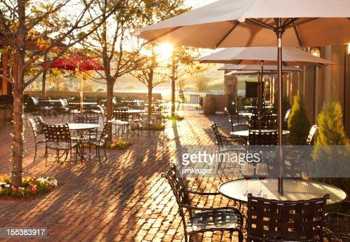 Lovely summer patio setting in restaurant.
