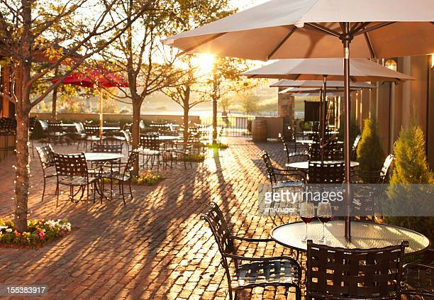 Lovely summer patio setting in restaurant.