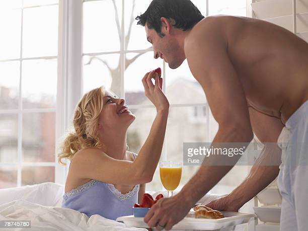 Lovers Have Breakfast in Bed