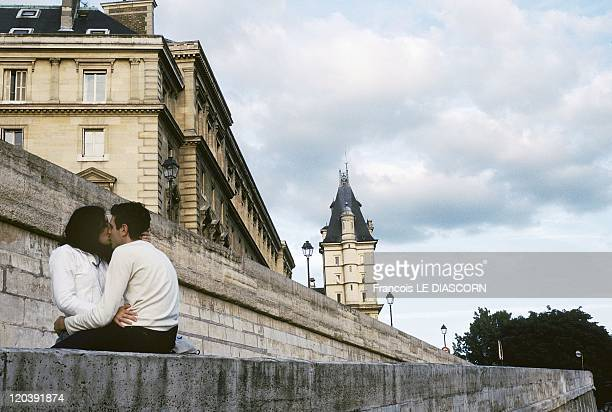 Lovers in Paris France Lovers along the Seine Paris on the Orfevres Quay