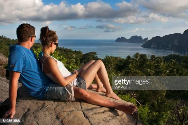 Lovers in Pee Pee viewpoint Phi Phi Don island Krabi province Andaman Sea Thailand Ko Nok and Ton Sai Village from Ko Nai viewpoint Ko Phi Phi...