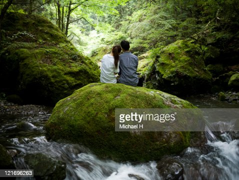 Lovers who draws close in forest : Stock Photo