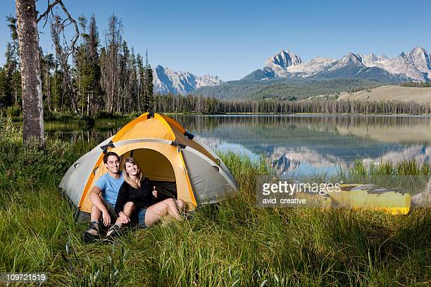 Loving Couple Camping by Mirror Lake