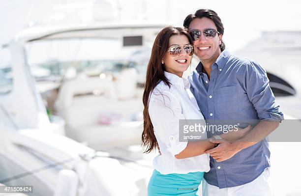 Loving couple going sailing on vacations