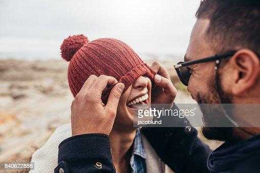 Loving couple having fun outdoors : Foto de stock